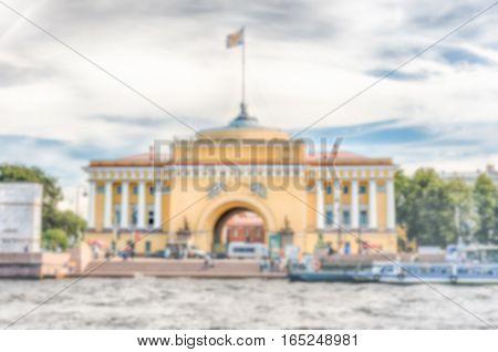 Defocused Background Of The Admiralty Building, St. Petersburg, Russia