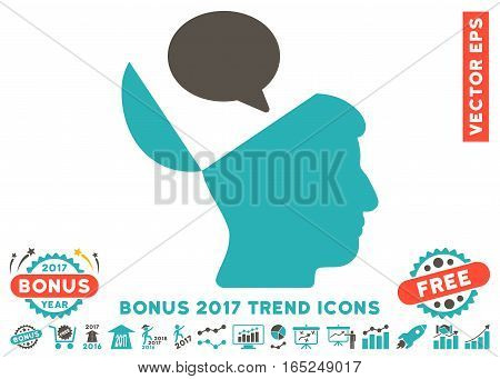 Grey And Cyan Open Mind Opinion pictograph with bonus 2017 trend elements. Vector illustration style is flat iconic bicolor symbols white background.