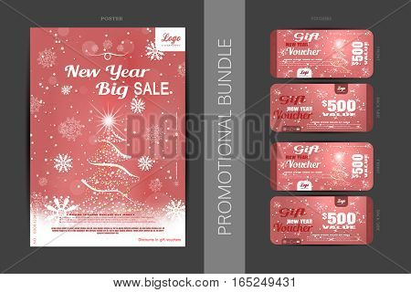 Vector Christmas big sale promotional bundle of red poster and gift vouchers with Christmas tree snowflakes and snowfall on the gradient background.