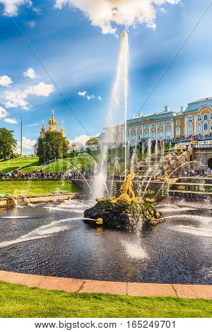 Scenic View Of The Grand Cascade,  Peterhof Palace, Russia