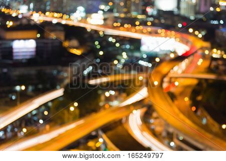 Aerial view blurred lights highway interchanged abstract background