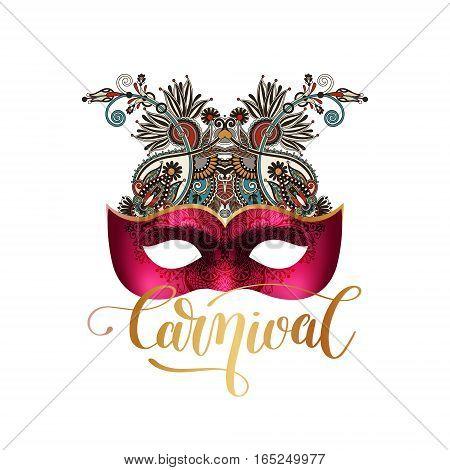 3d venetian carnival mask silhouette with ornamental floral feather and gold hand lettering isolated on white background, vector illustration