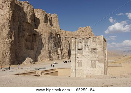 NAQSH-E ROSTAM, IRAN - OCTOBER 6, 2016: Necropolis of the Achaemenid kings in Naqsh-e Rostam on October 6, 2016 in Iran, Asia