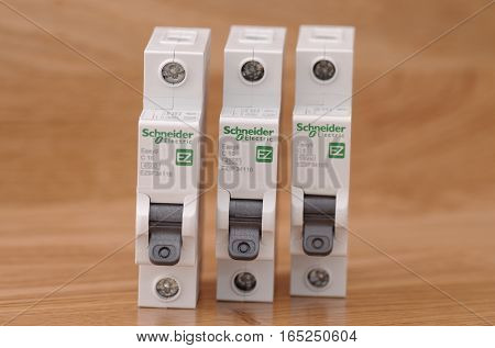 SARANSK, RUSSIA - JANUARY 13, 2017: Schneider Electric one-pole circuit breaker lineup.