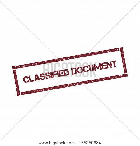 Classified Document Rectangular Stamp. Textured Red Seal With Text Isolated On White Background, Vec