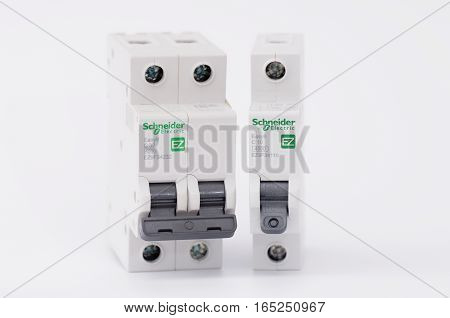SARANSK, RUSSIA - JANUARY 13, 2017: Schneider Electric one-pole and two-pole circuit breakers.