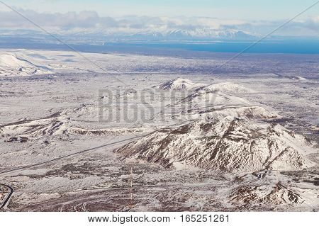 Top view Iceland land snow covered during winter season natural landscape background