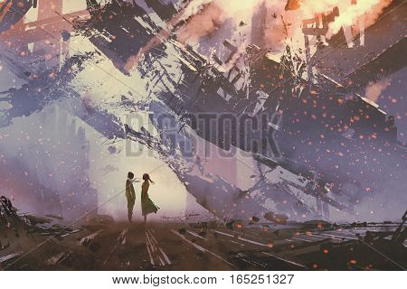 man and woman standing against collapsing buildings city, illustration painting