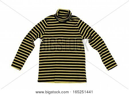 Striped yellow black knitted sweater isolate on a white background