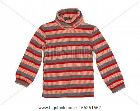 Striped knitted sweater isolate on a white background