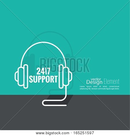 Tech Support Icon with headset. 24 hours maintenance and repairs. conceptual of client services and communication. Flat design with shadow