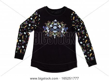 Black jacket with floral pattern isolate on a white background