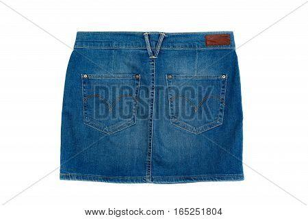 Blue denim mini skirt isolate on a white background