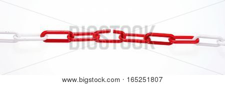 Red chain with broken element on white background