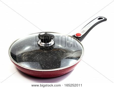 the side view of the red pan with a nonstick surface
