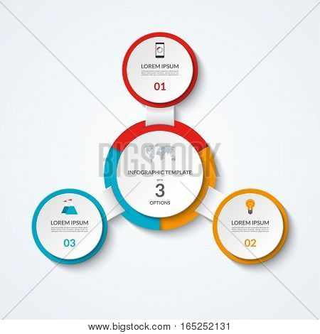 Infographic diagram with 3 options. Vector template what can be used as circular chart, numbered banner, workflow layout, graph, report, presentation, web design.