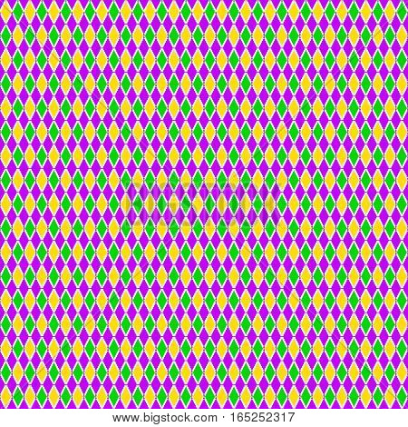 Vector illustration of cartoon seamless green purple yellow grid Mardi Gras pattern background
