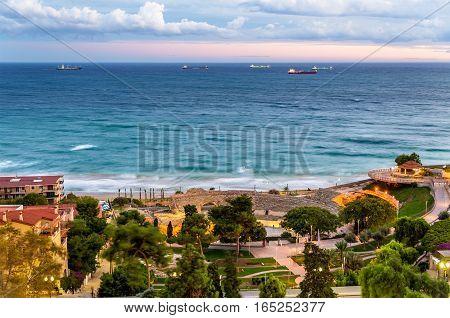 View of Mediterranean Sea and Roman Amphitheatre in Tarragona - Spain, Andalusia