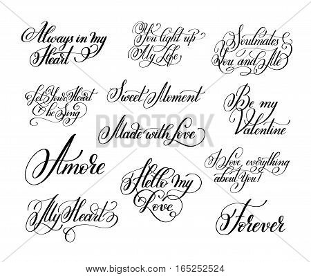 set of black and white hand written lettering about love to valentine day design, calligraphy vector illustration collection