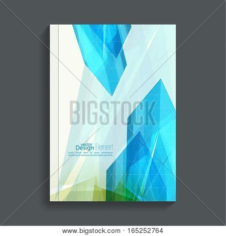 Magazine Cover with colored crystals, trellis structure. For book, brochure, flyer, poster, booklet, leaflet, postcard flier headline annual report  journal vector