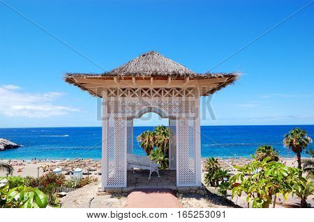 Sea view hut and beach at luxury hotel Tenerife island Spain