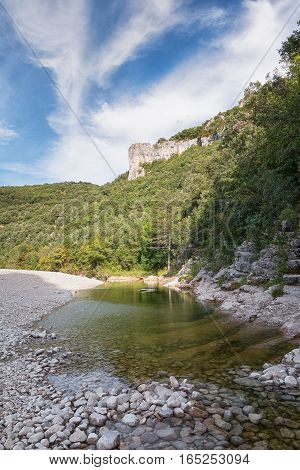 The river L'Ibie in the Ardeche region of France on a sunny day.
