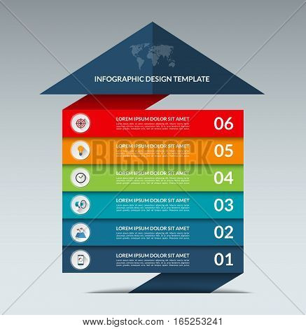 Infographic arrow design template. Business growth concept banner with 6 options, parts, stages. Can be used for web, diagram, graph, chart, report, step by step infographics. Vector background