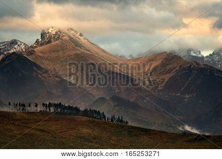 Tatra mountains ridge in sunset light Slovakia