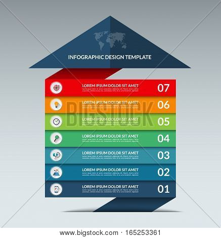 Infographic arrow design template. Business growth concept banner with 7 options, parts, stages. Can be used for web, diagram, graph, chart, report, step by step infographics. Vector background