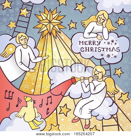 Awesome christmas postcard with three white angels sitting on clouds. Sweet holiday card with stars, bird singing a carol song and angel playing a trumpet. Lovely vector illustration for decoration of Christmas Eve and the Holy Night