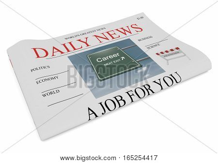 US Business Concept: Newspaper Front Page A Job For You 3d illustration on white background