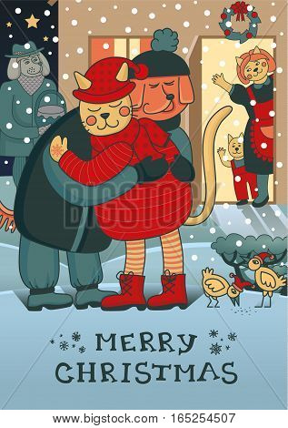 Winter hugs. Lovely Christmas card with two friends embracing each other on the doorstep. Family gathering together to celebrate New Year and have a festive dinner. Awesome winter illustration in vector