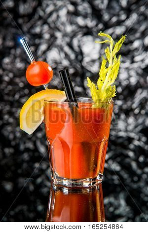 Alcoholic cocktail on the bar, close-up in glass bloody Mary