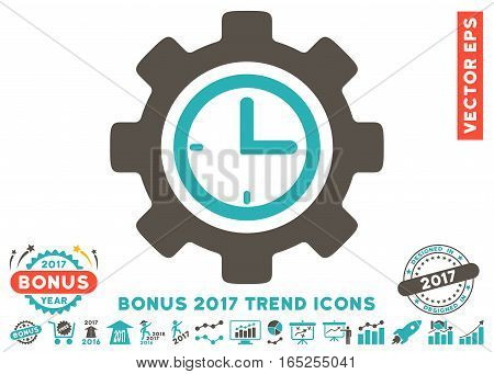Grey And Cyan Time Setup Gear icon with bonus 2017 year trend design elements. Vector illustration style is flat iconic bicolor symbols white background.