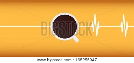 Coffee and cardiogram on yellow background. Vector illustration with copy space