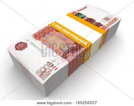 One million Russian rubles. Pack of 5000 Russian rubles tied with a ribbon with the words
