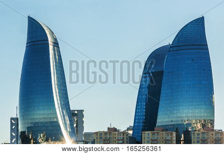 Flame Towers In Baku Cityscape.