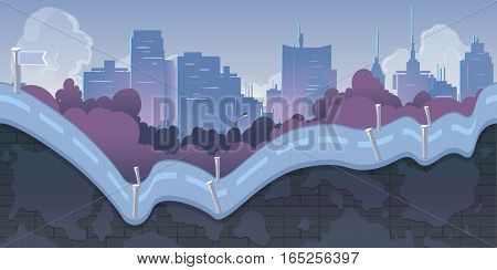 City Game Background with mountains and retro old cars 2d game application. Vector Illustration for your application project.