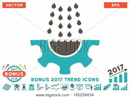 Grey And Cyan Water Shower Service Gear icon with bonus 2017 year trend clip art. Vector illustration style is flat iconic bicolor symbols white background.