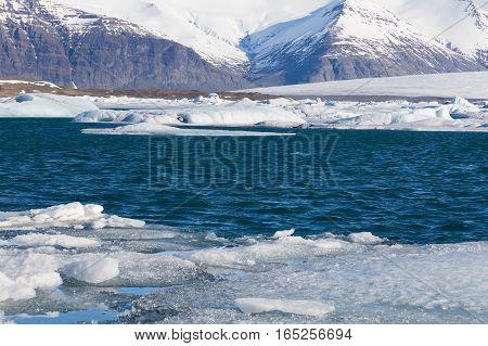 Jagulsalon winter lake Iceland winter season natural landscape background