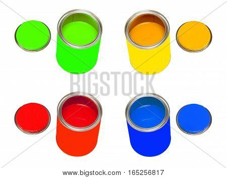 Set of multicolored paint cans isolated on white background.