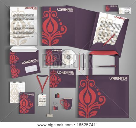 Lilac corporate identity template design with red and beige element. Business set stationery.