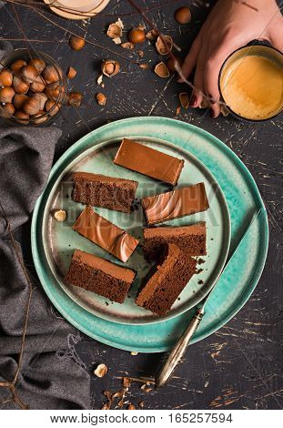 Nutella brownie bars on a turquoise plate