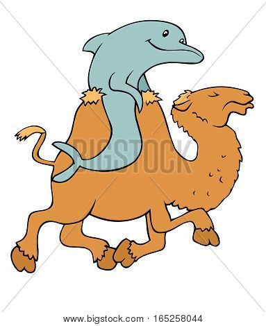 In case you ever need a picture of a dolphin riding a camel, here it is.