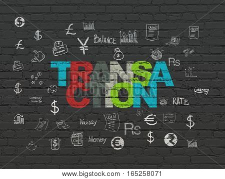 Money concept: Painted multicolor text Transaction on Black Brick wall background with  Hand Drawn Finance Icons