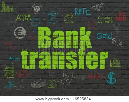 Banking concept: Painted green text Bank Transfer on Black Brick wall background with Scheme Of Hand Drawn Finance Icons