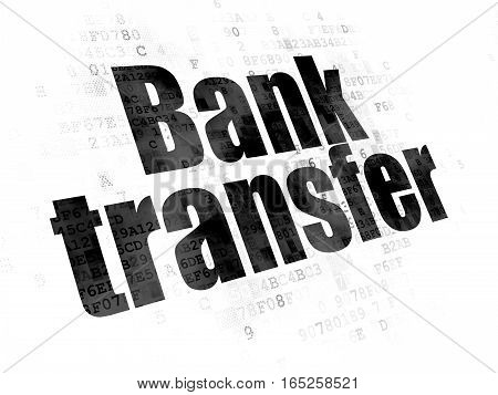 Money concept: Pixelated black text Bank Transfer on Digital background