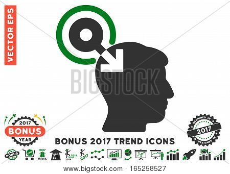 Green And Gray Brain Interface Plug-In pictograph with bonus 2017 year trend symbols. Vector illustration style is flat iconic bicolor symbols white background.