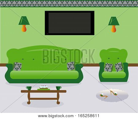 A living room with a coffee table.Lamps on the wall. A sofa and an armchair witn colored decorative pillows. Сarpet. Sexy cute slippers with high heels. Flat screen TV.Vector illustration.