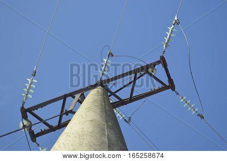 high-voltage line of elektro transmissions pillar support insulator
